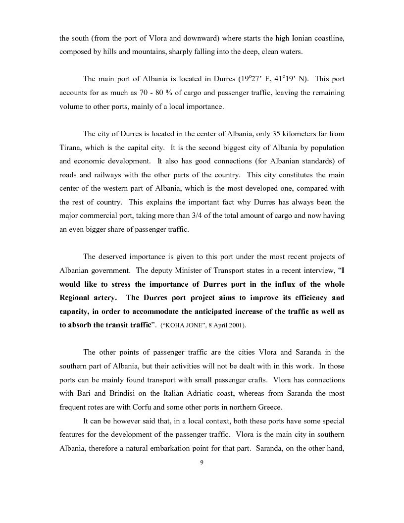 Anteprima della tesi: The development of a passenger shipping line in Albania: Economical and operational consideration., Pagina 5