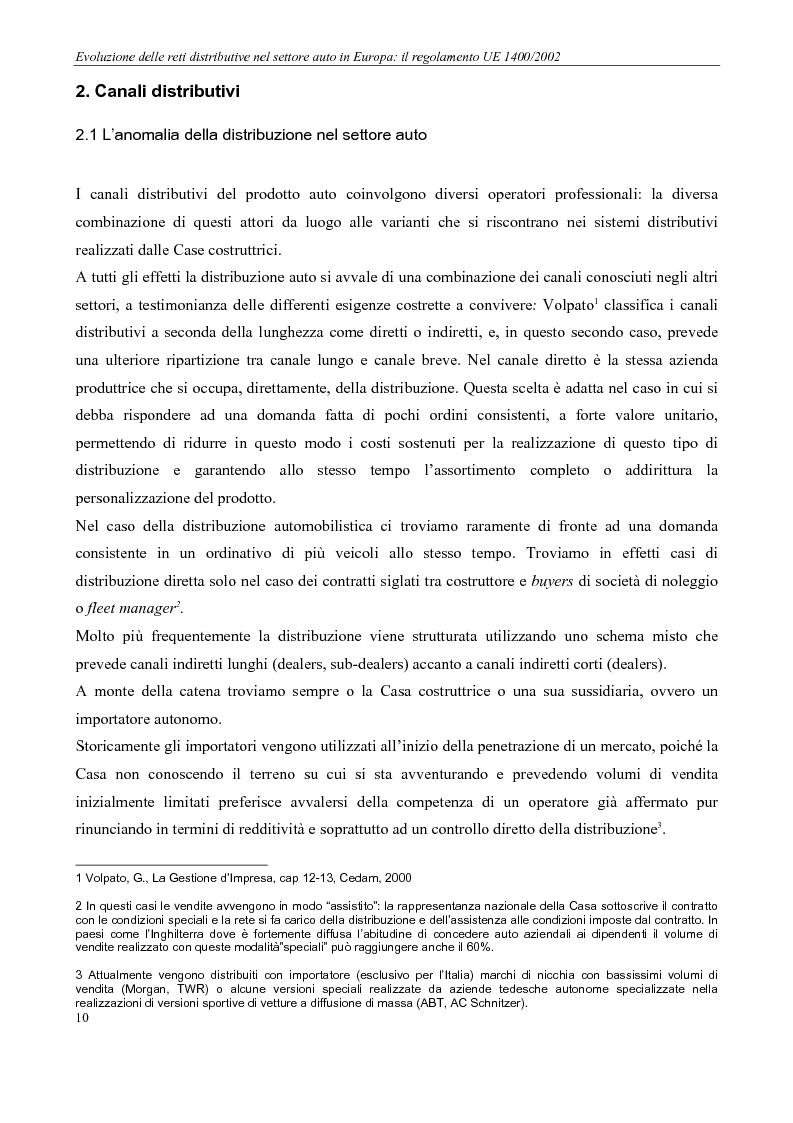 Anteprima della tesi: Evoluzione delle reti distributive nel settore auto in Europa: il reg. EU 1400/2002, Pagina 10