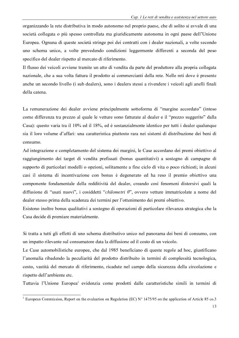 Anteprima della tesi: Evoluzione delle reti distributive nel settore auto in Europa: il reg. EU 1400/2002, Pagina 13
