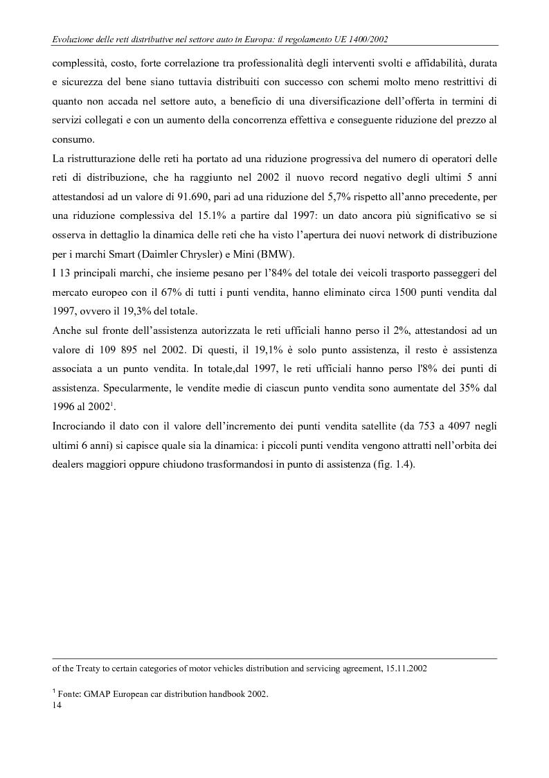 Anteprima della tesi: Evoluzione delle reti distributive nel settore auto in Europa: il reg. EU 1400/2002, Pagina 14