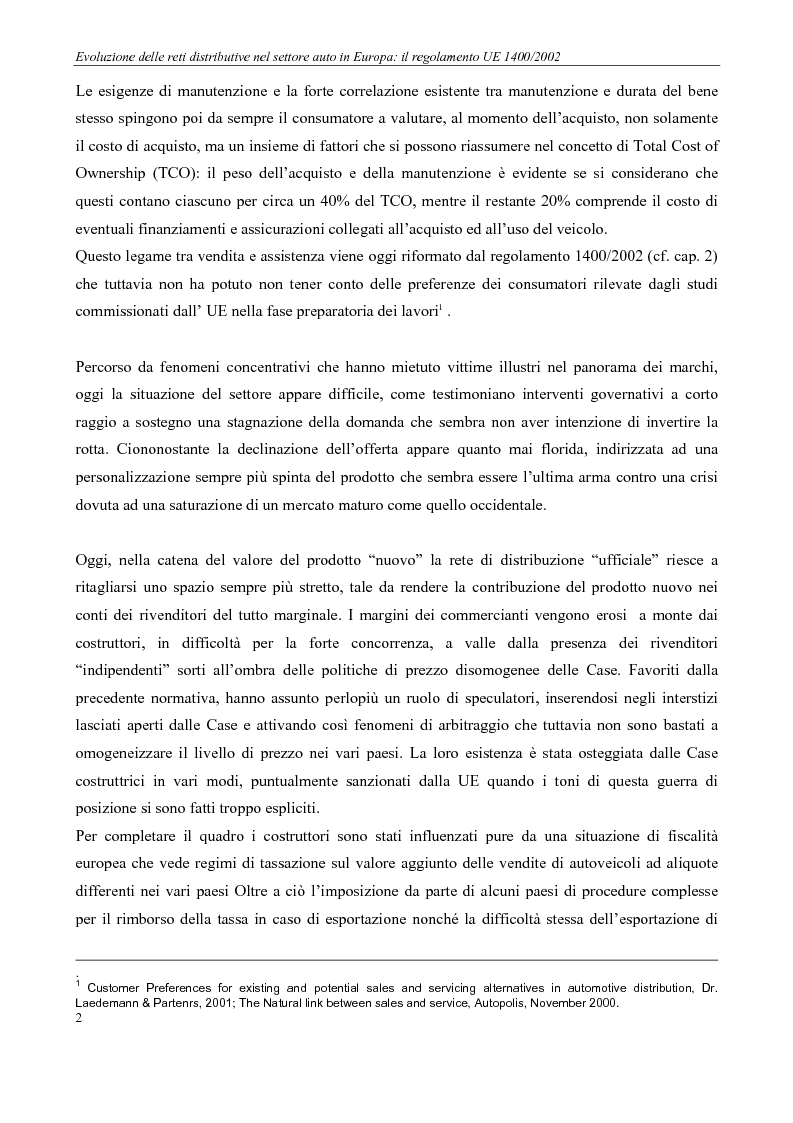Anteprima della tesi: Evoluzione delle reti distributive nel settore auto in Europa: il reg. EU 1400/2002, Pagina 2