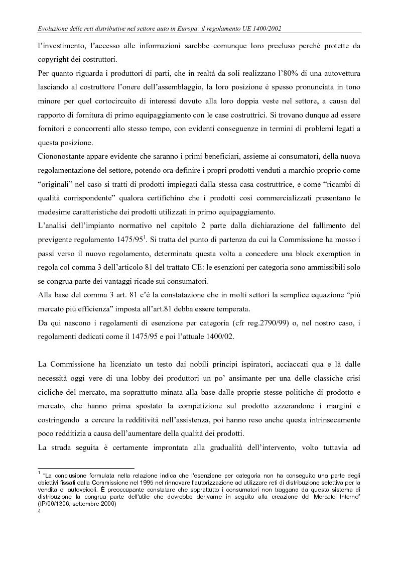 Anteprima della tesi: Evoluzione delle reti distributive nel settore auto in Europa: il reg. EU 1400/2002, Pagina 4