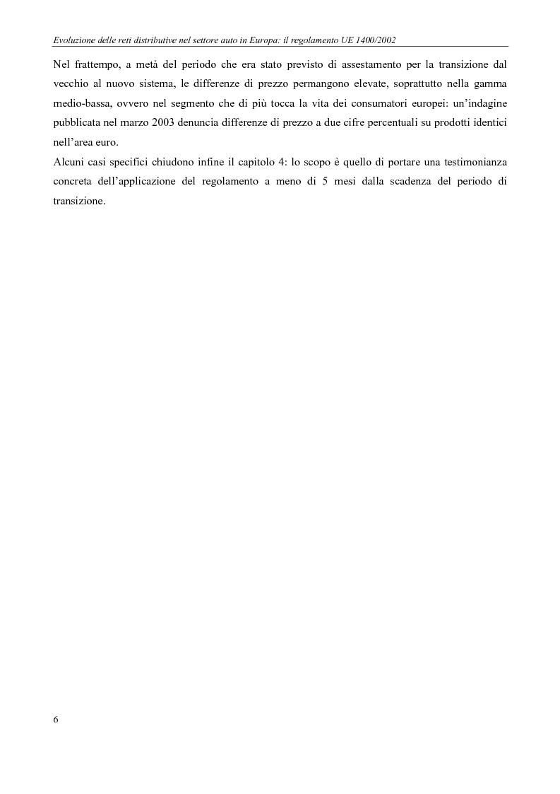 Anteprima della tesi: Evoluzione delle reti distributive nel settore auto in Europa: il reg. EU 1400/2002, Pagina 6