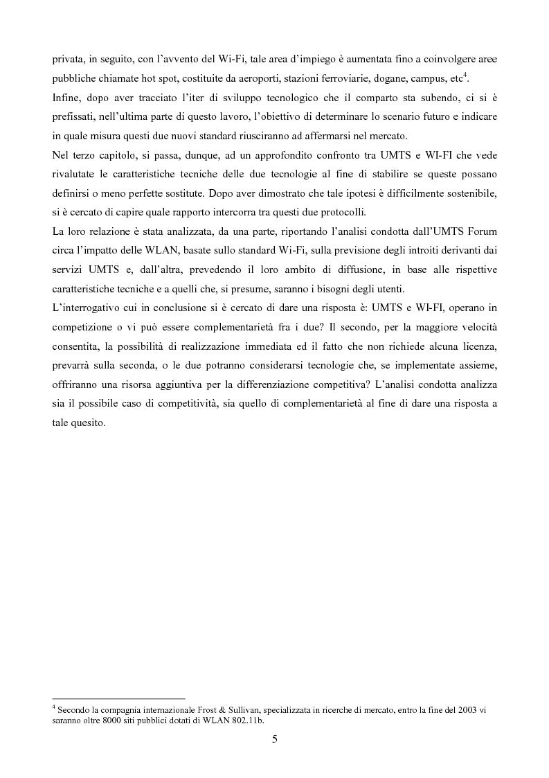 Anteprima della tesi: Evoluzione del settore mobile: Umts e Wi-Fi, tecnologie complementari o competitive?, Pagina 3