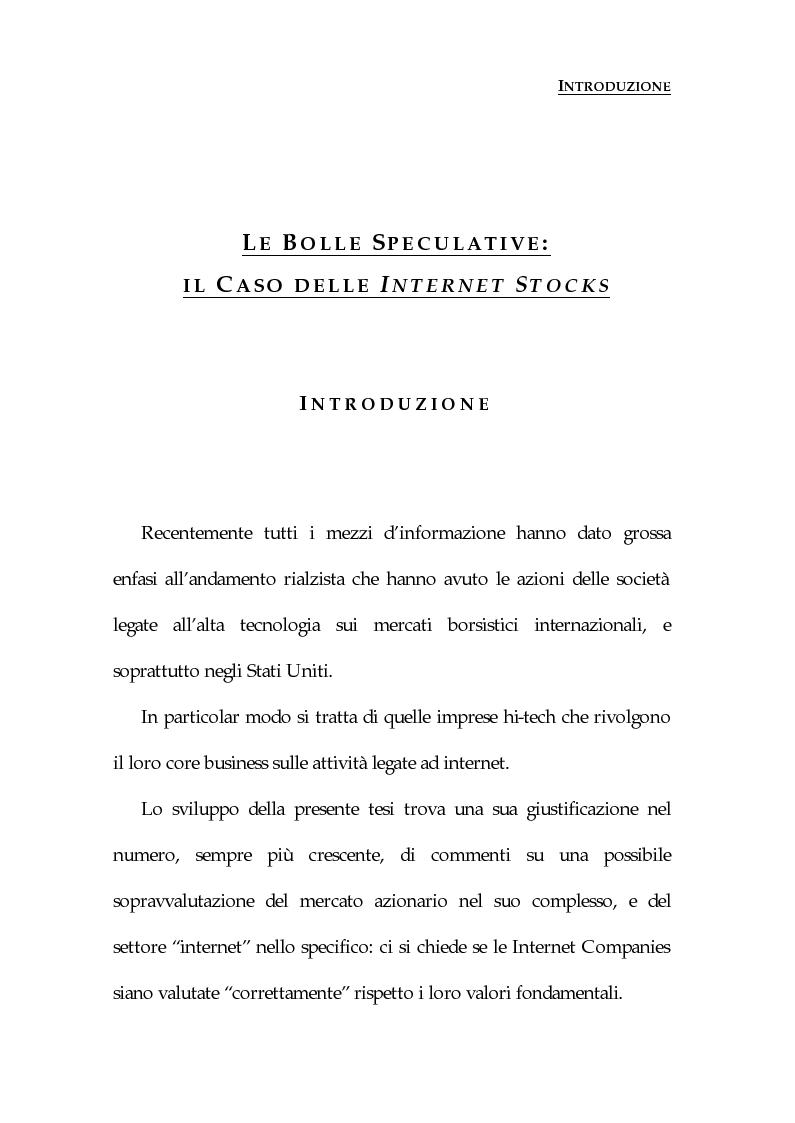 Anteprima della tesi: Le bolle speculative: il caso delle Internet stocks, Pagina 1