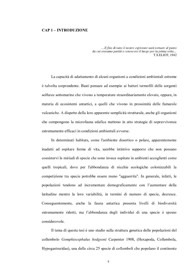 Anteprima della tesi: Variabilità e differenziazione genetica nella specie antartica Gomphiocephalus hodgsoni (Hexapoda, Collembola, Hypogastruridae), Pagina 1