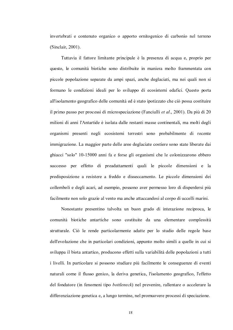 Anteprima della tesi: Variabilità e differenziazione genetica nella specie antartica Gomphiocephalus hodgsoni (Hexapoda, Collembola, Hypogastruridae), Pagina 15