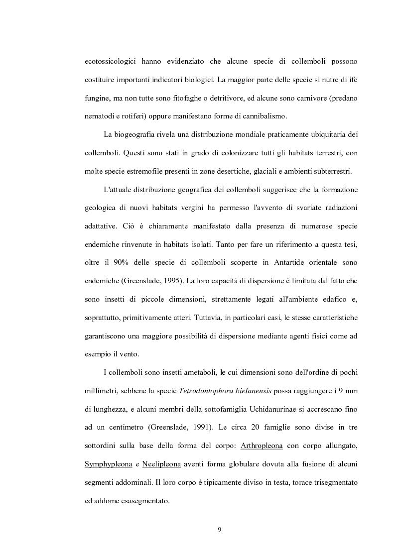 Anteprima della tesi: Variabilità e differenziazione genetica nella specie antartica Gomphiocephalus hodgsoni (Hexapoda, Collembola, Hypogastruridae), Pagina 6