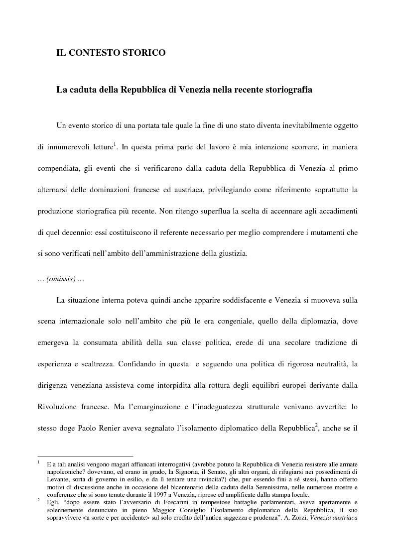 L'amministrazione della giustizia alla caduta della Repubblica di Venezia. Problematiche in una fase di transizione (179...