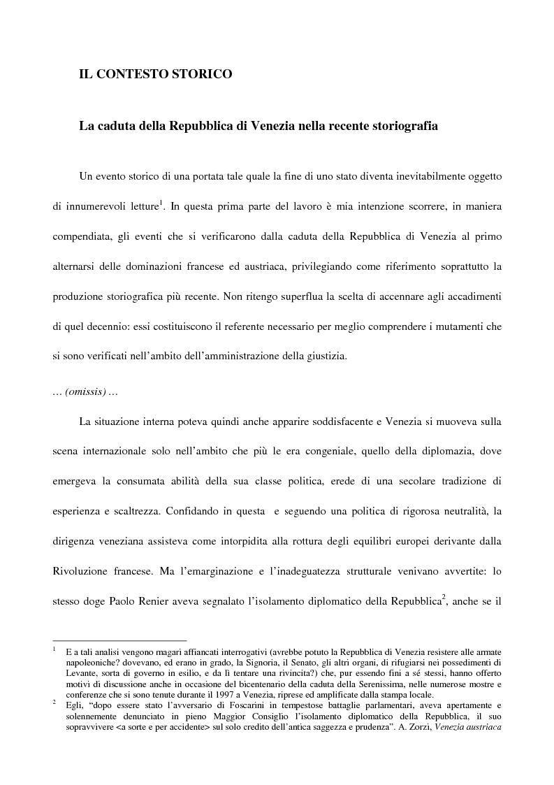 Anteprima della tesi: L'amministrazione della giustizia alla caduta della Repubblica di Venezia. Problematiche in una fase di transizione (1797-1806), Pagina 1