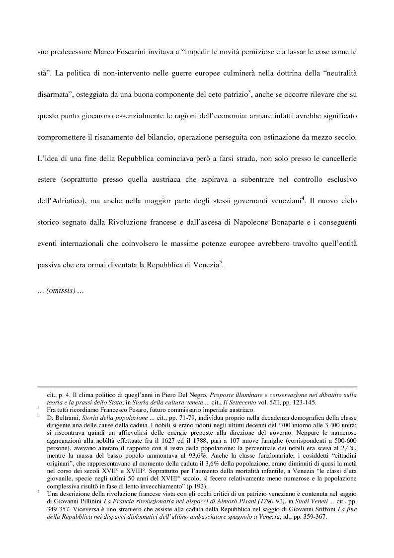 Anteprima della tesi: L'amministrazione della giustizia alla caduta della Repubblica di Venezia. Problematiche in una fase di transizione (1797-1806), Pagina 2