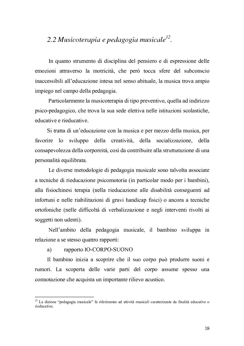 Anteprima della tesi: L'orecchio del silenzio. Musicoterapia applicata all'educazione dei bambini audiolesi, Pagina 12