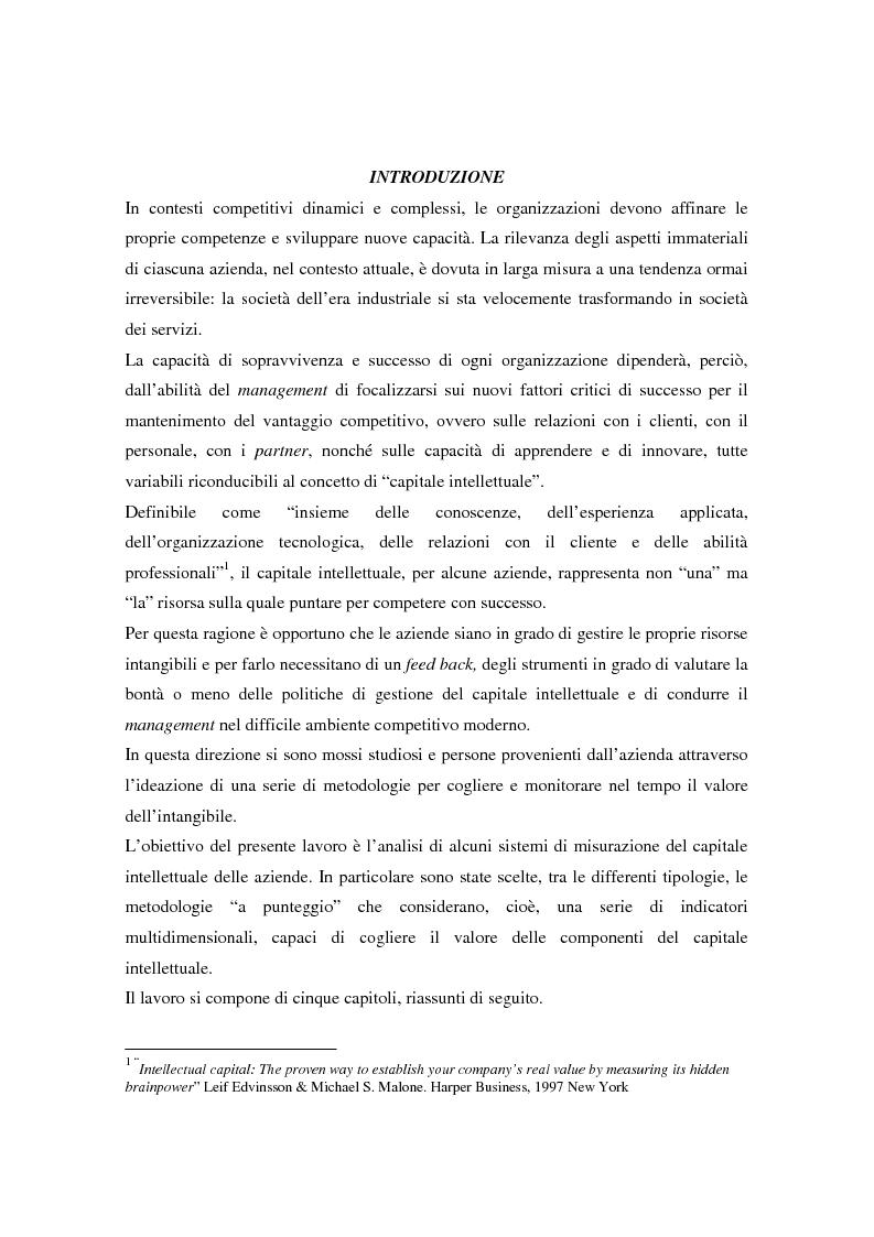 Anteprima della tesi: Metodologie di misurazione ''a punteggio'' per la valutazione del capitale intellettuale, Pagina 1