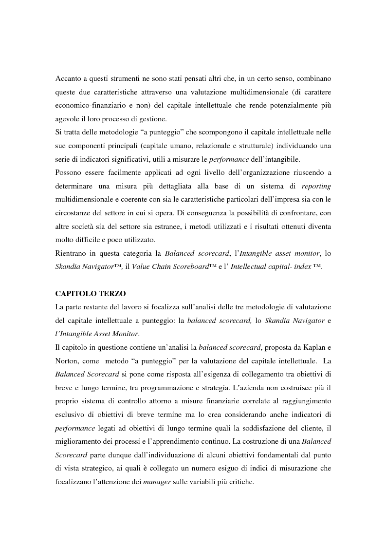 Anteprima della tesi: Metodologie di misurazione ''a punteggio'' per la valutazione del capitale intellettuale, Pagina 4