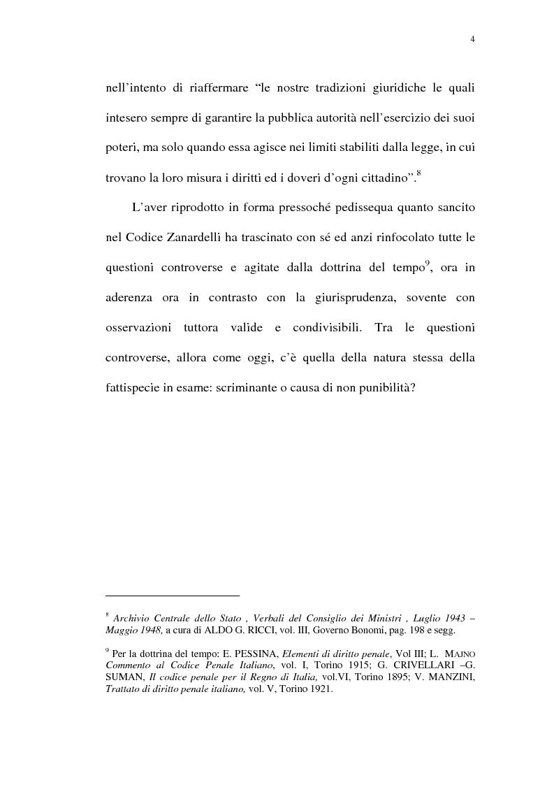 Anteprima della tesi: Reazione legittima agli atti arbitrari del Pubblico Ufficiale Art. 4 D.Lgt. 288/1944, Pagina 4
