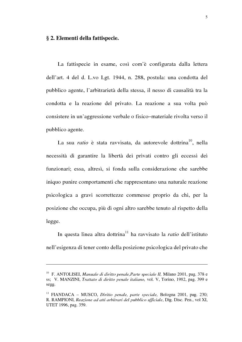 Anteprima della tesi: Reazione legittima agli atti arbitrari del Pubblico Ufficiale Art. 4 D.Lgt. 288/1944, Pagina 5