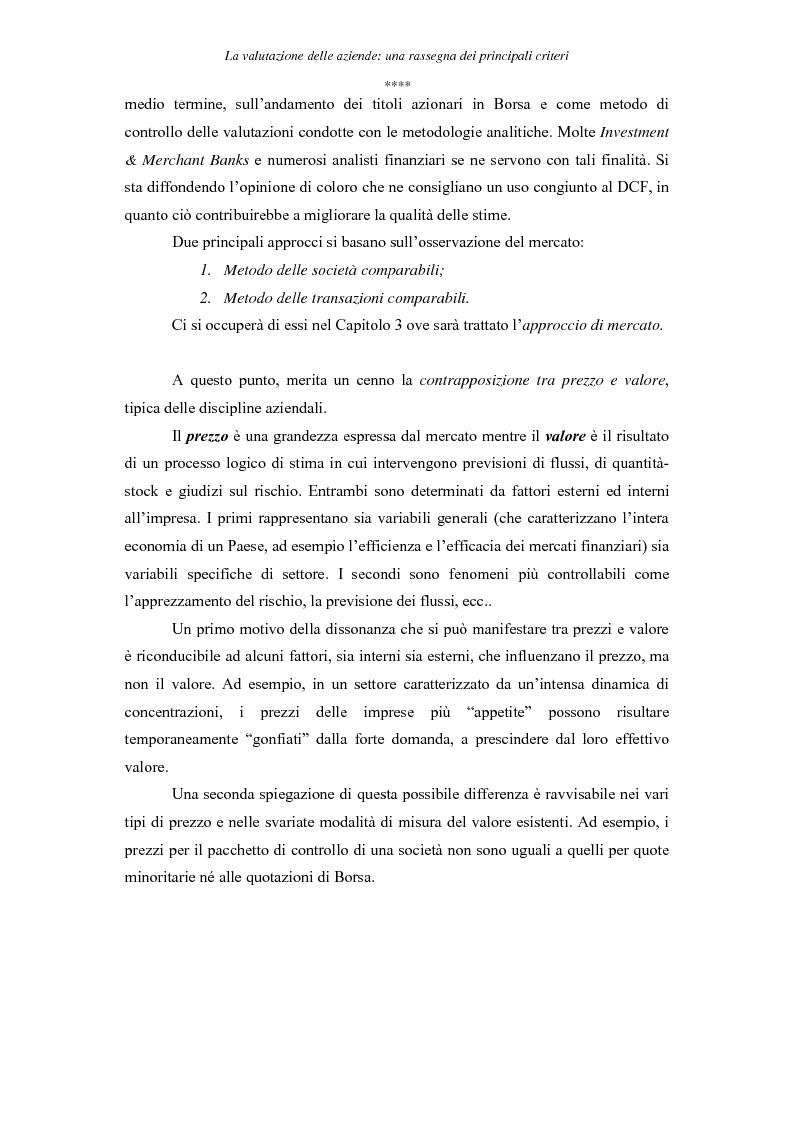 Anteprima della tesi: La valutazione delle aziende: una rassegna dei principali criteri, Pagina 7