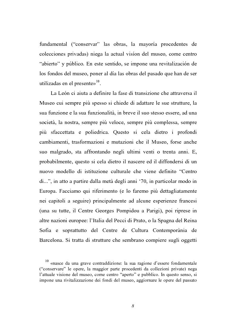 Anteprima della tesi: Dal museo al centro di cultura: l'esperienza del Centre de Cultura Contemporània de Barcelona, Pagina 6