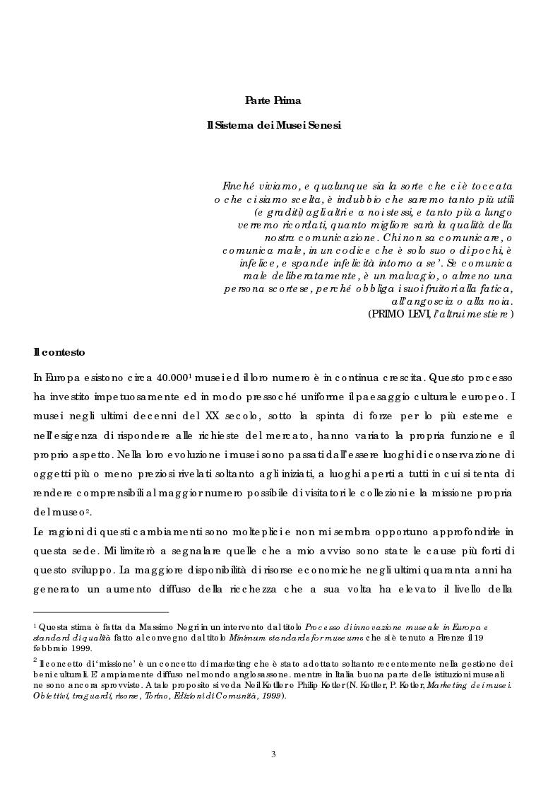 Anteprima della tesi: Politica e gestione dei musei: il caso del sistema dei musei senesi, Pagina 1