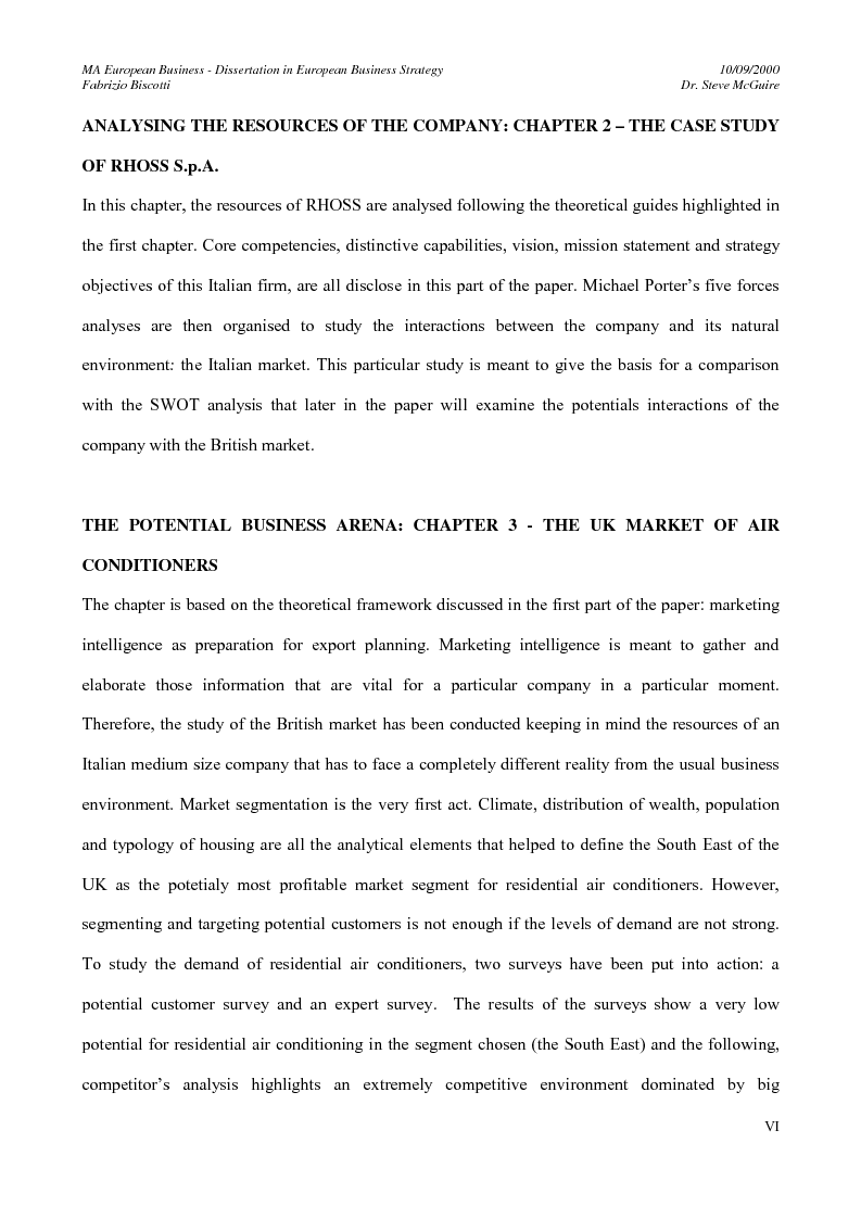 Anteprima della tesi: The market expansion opportunities for a European manufacturing company in a foreign European country: the case of an Italian air conditioning company, RHOSS S.p.A and the market opportunities in the UK, Pagina 2