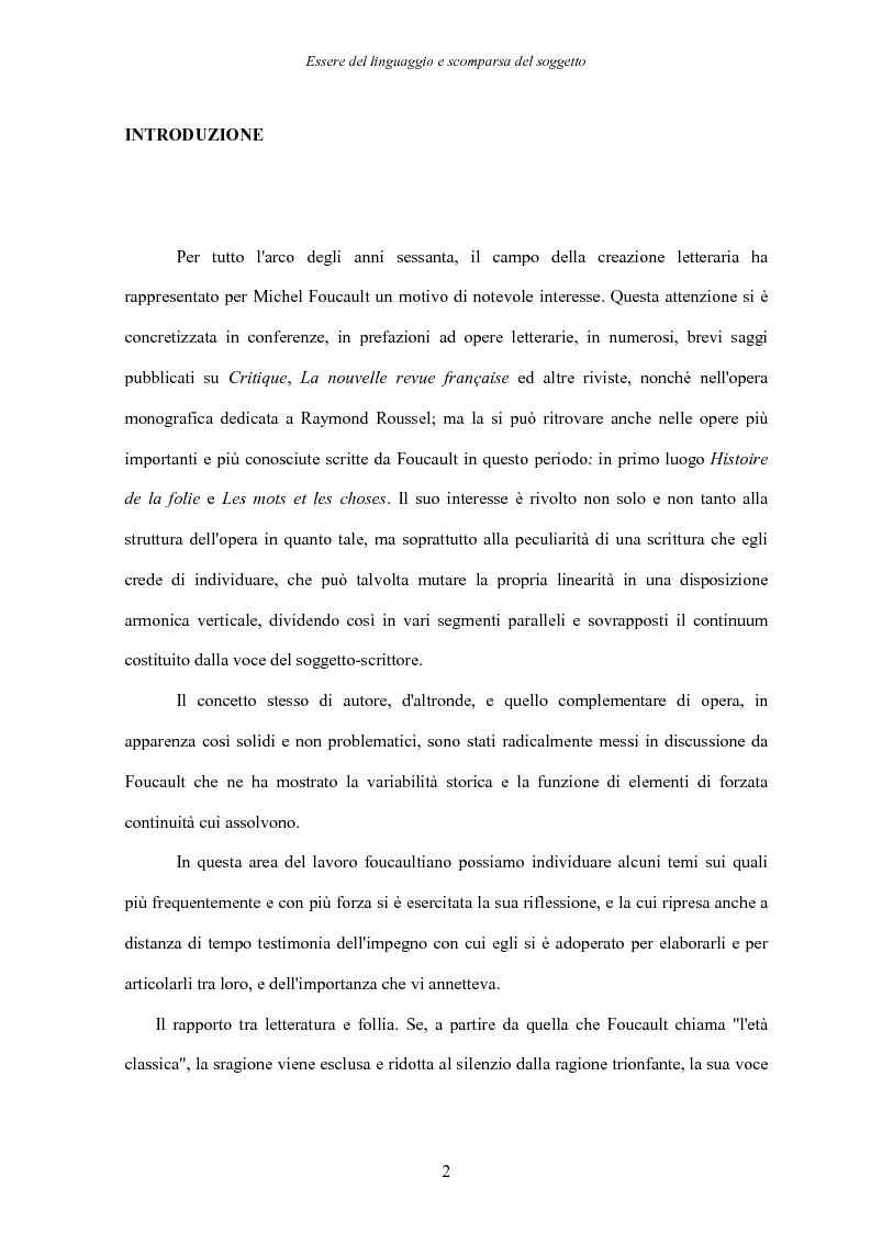 Anteprima della tesi: Essere del linguaggio e scomparsa del soggetto. Il linguaggio letterario in Michel Foucault, Pagina 1