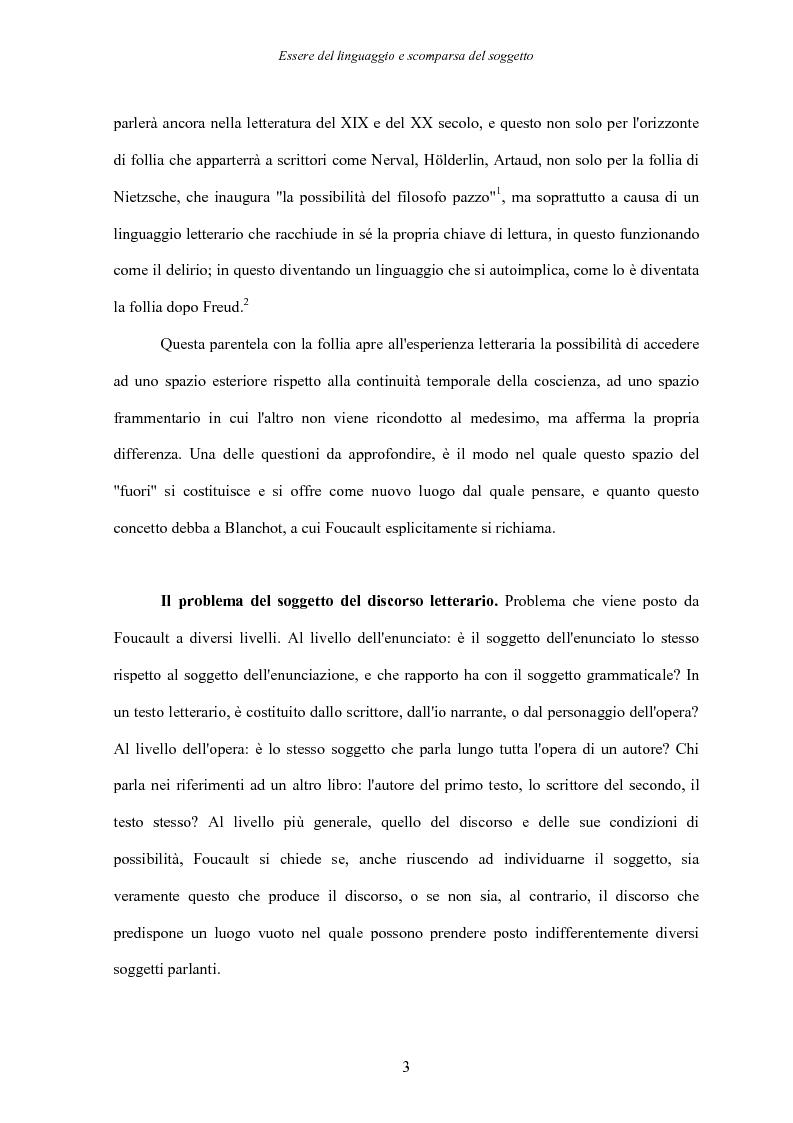 Anteprima della tesi: Essere del linguaggio e scomparsa del soggetto. Il linguaggio letterario in Michel Foucault, Pagina 2