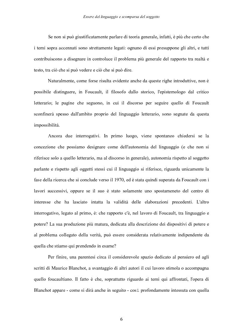 Anteprima della tesi: Essere del linguaggio e scomparsa del soggetto. Il linguaggio letterario in Michel Foucault, Pagina 5