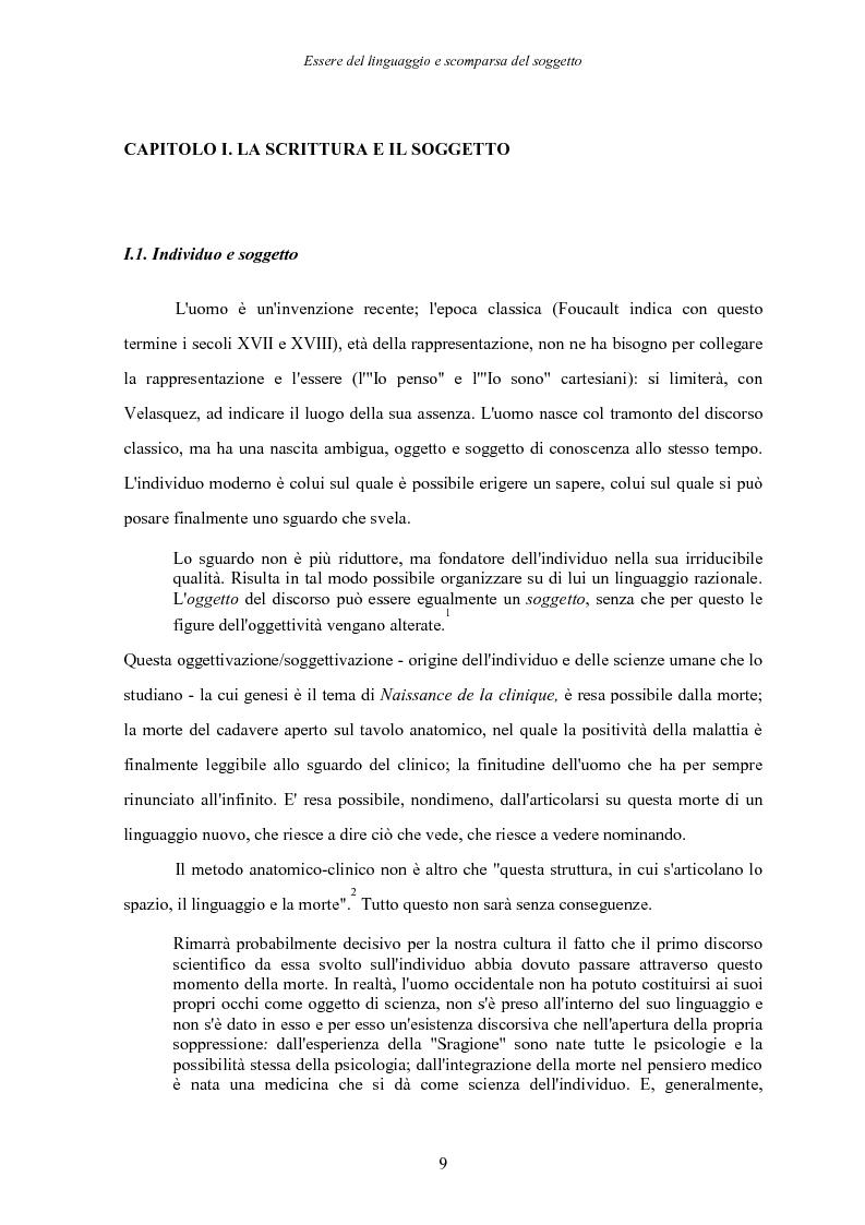 Anteprima della tesi: Essere del linguaggio e scomparsa del soggetto. Il linguaggio letterario in Michel Foucault, Pagina 8