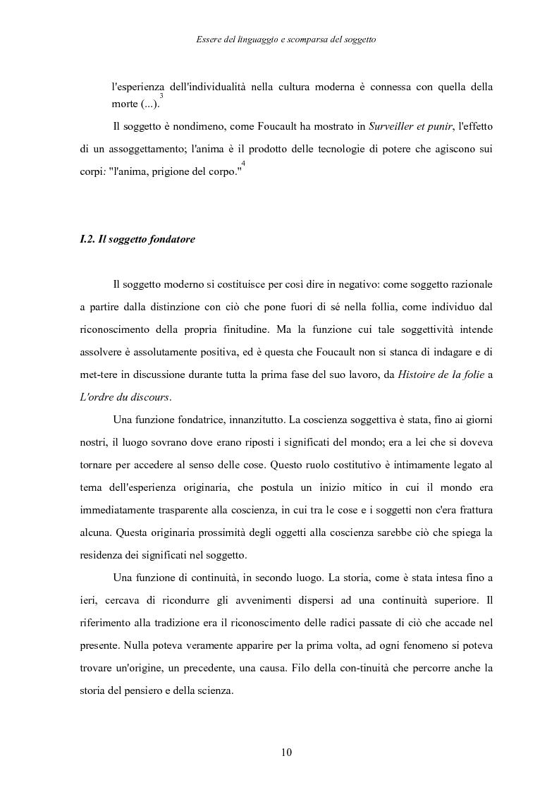 Anteprima della tesi: Essere del linguaggio e scomparsa del soggetto. Il linguaggio letterario in Michel Foucault, Pagina 9