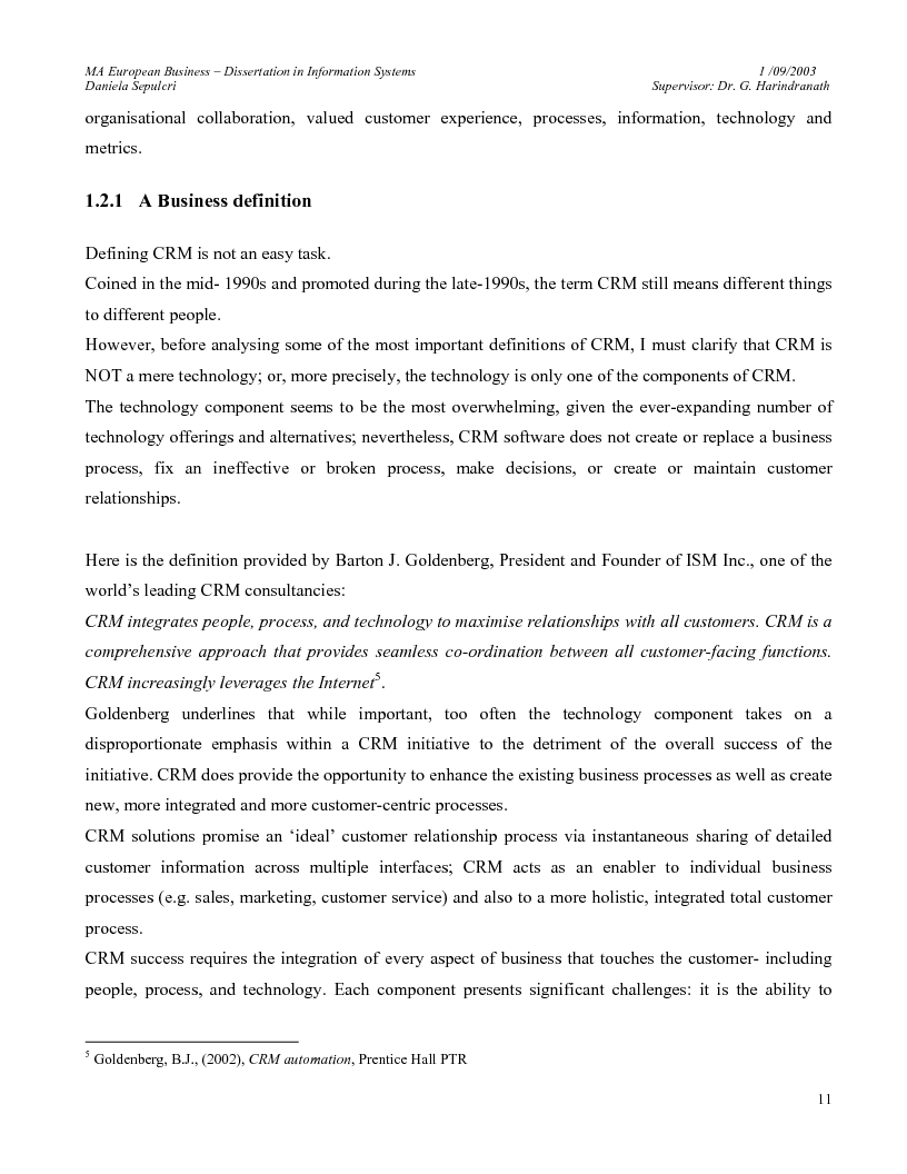 Dissertation proposal on crm