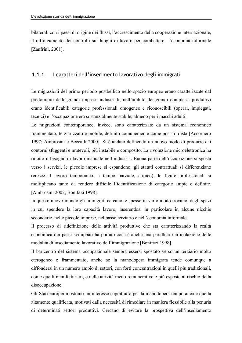 Anteprima della tesi: Immigrazione e lavoro. Il ruolo degli imprenditori nei processi di inserimento lavorativo e integrazione sociale degli immigrati, Pagina 13