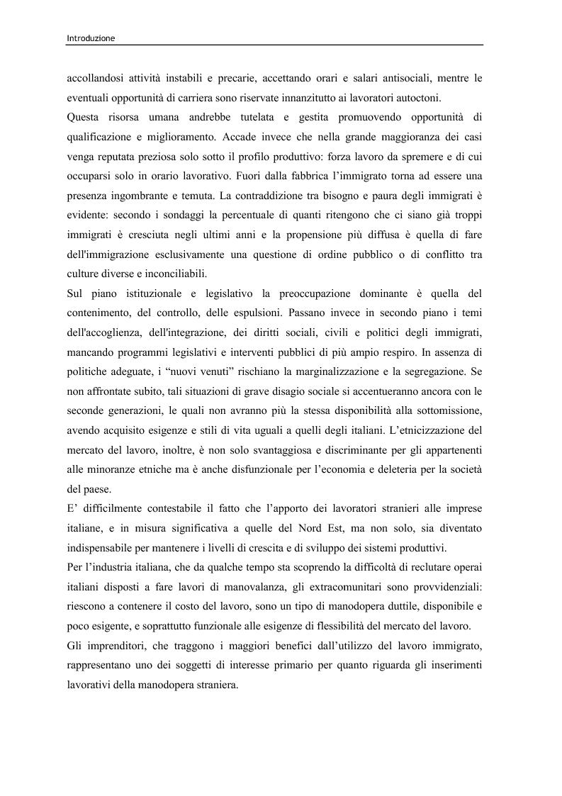 Anteprima della tesi: Immigrazione e lavoro. Il ruolo degli imprenditori nei processi di inserimento lavorativo e integrazione sociale degli immigrati, Pagina 2