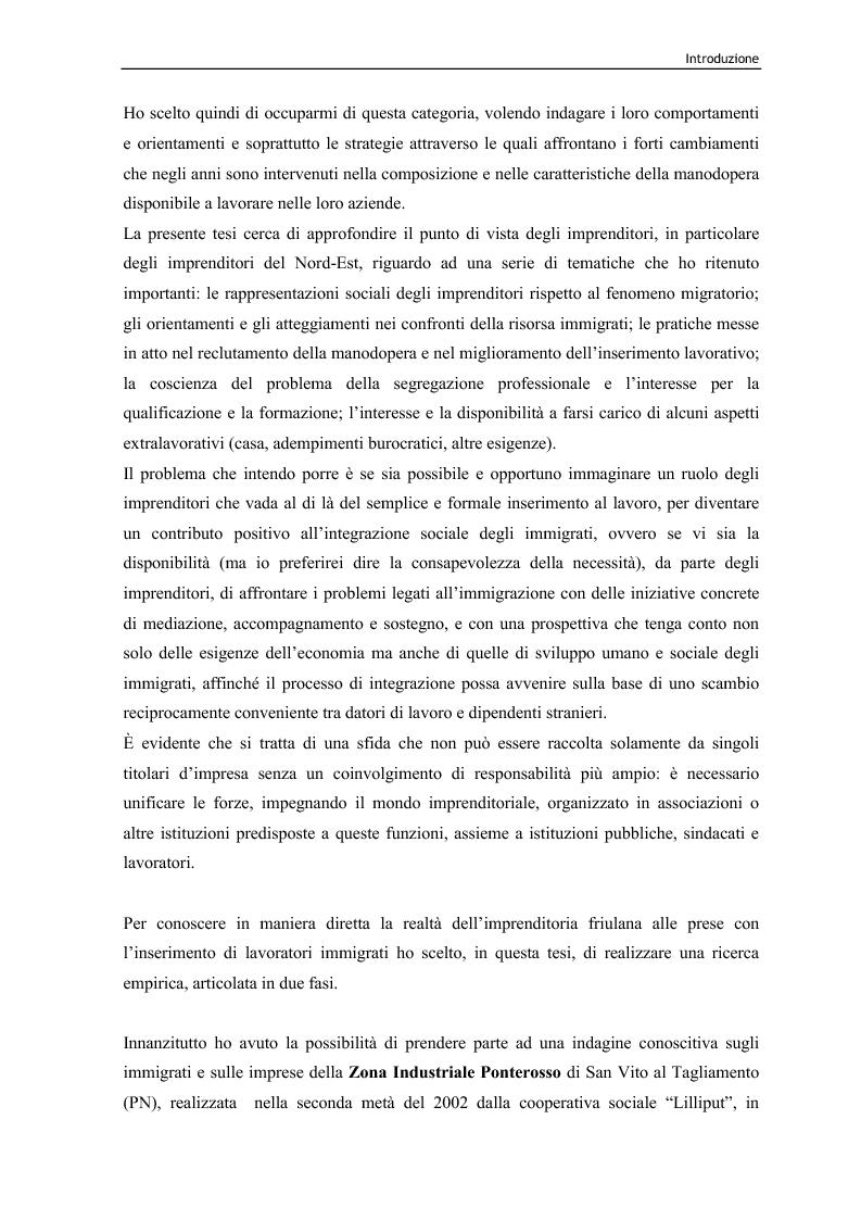 Anteprima della tesi: Immigrazione e lavoro. Il ruolo degli imprenditori nei processi di inserimento lavorativo e integrazione sociale degli immigrati, Pagina 3