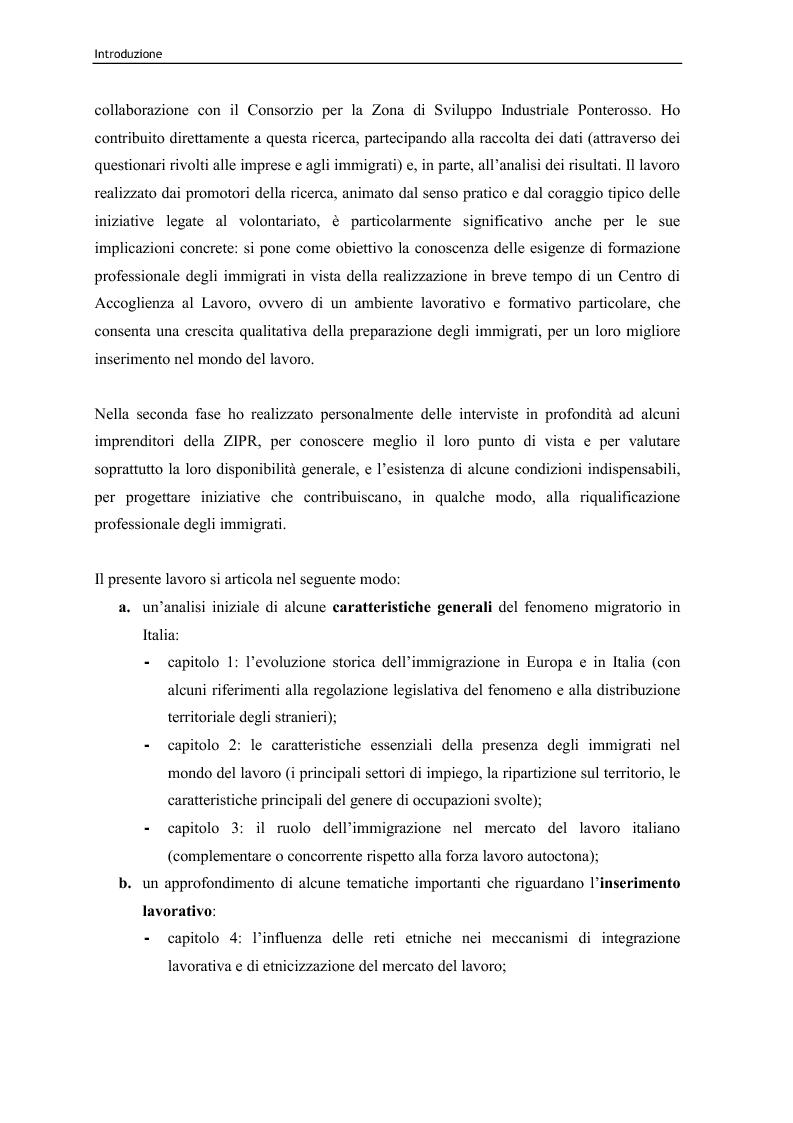 Anteprima della tesi: Immigrazione e lavoro. Il ruolo degli imprenditori nei processi di inserimento lavorativo e integrazione sociale degli immigrati, Pagina 4