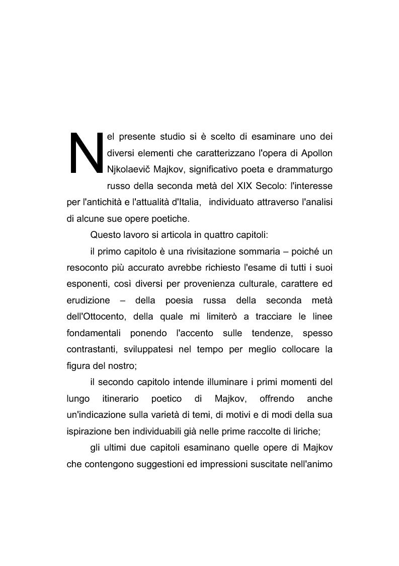 Anteprima della tesi: Riflessi italiani, antichi e moderni, nella poesia di Apollon Nikolaevič Majkov, Pagina 2