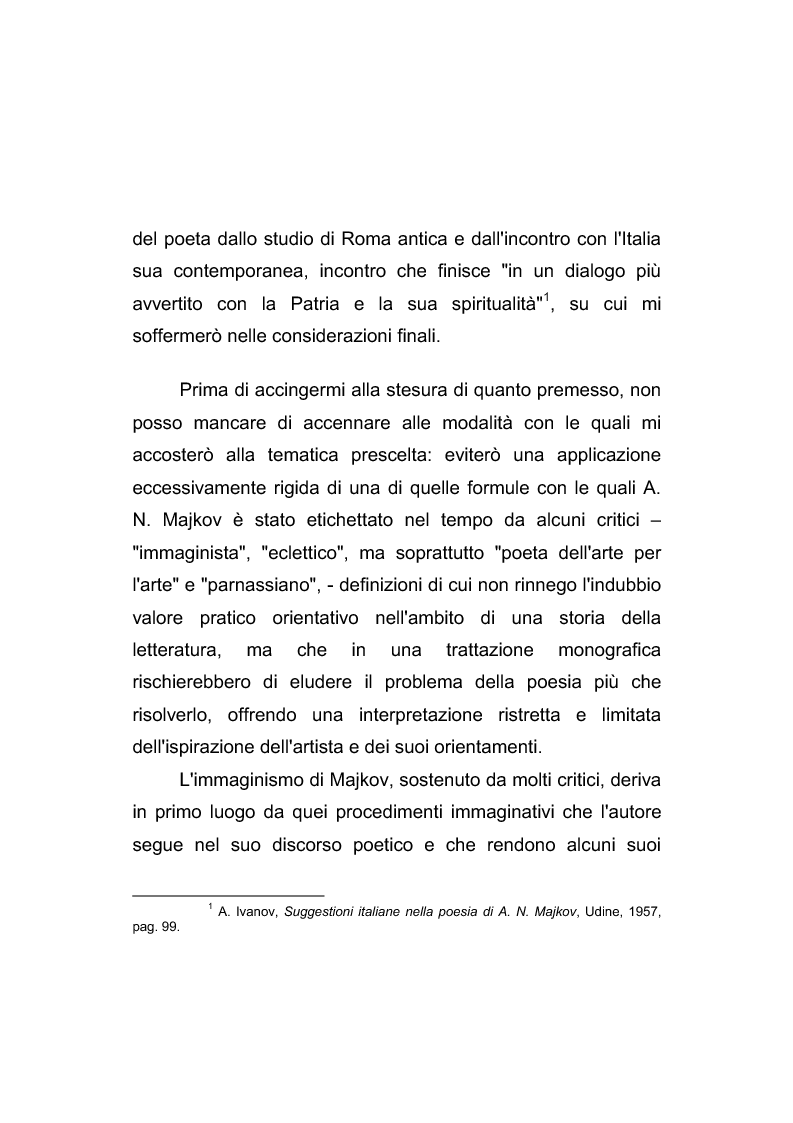 Anteprima della tesi: Riflessi italiani, antichi e moderni, nella poesia di Apollon Nikolaevič Majkov, Pagina 3