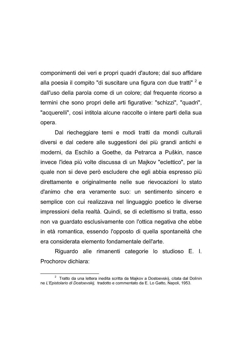 Anteprima della tesi: Riflessi italiani, antichi e moderni, nella poesia di Apollon Nikolaevič Majkov, Pagina 4