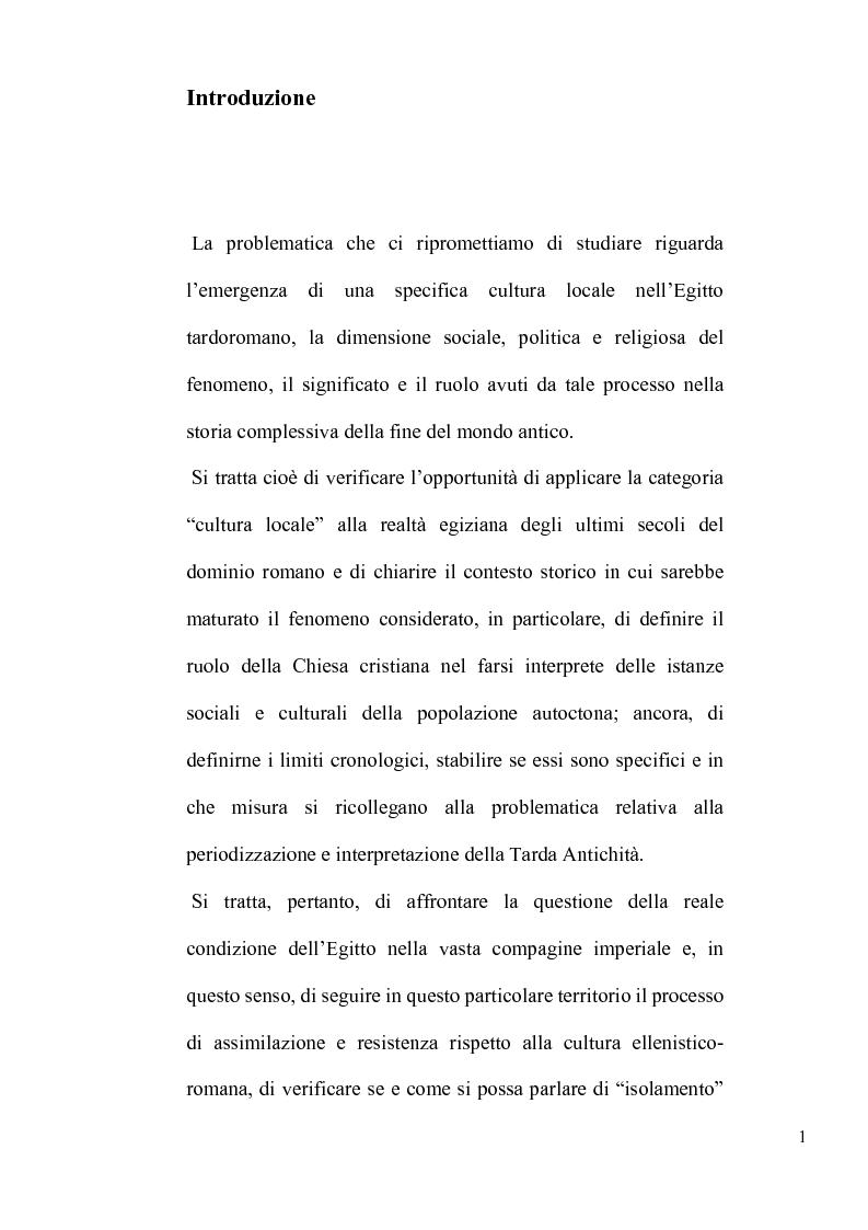 Anteprima della tesi: L'Egitto tardoromano: specificità locali e storia generale, Pagina 1