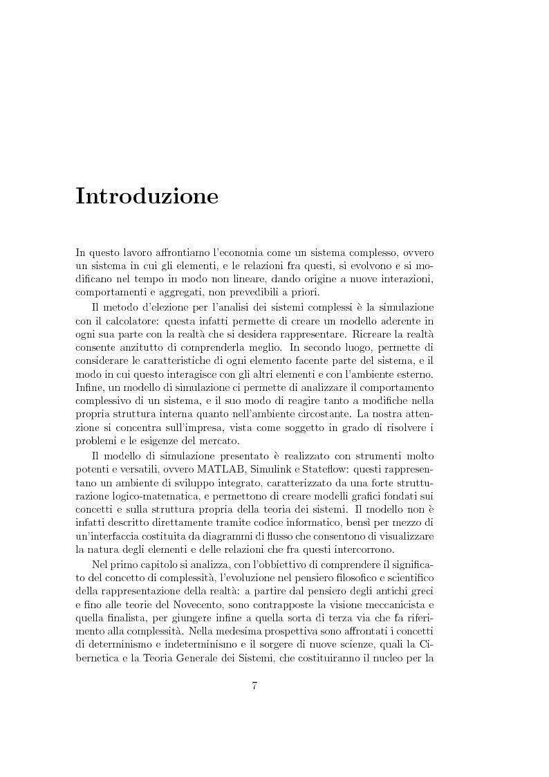 Anteprima della tesi: Un modello di simulazione d'impresa con Matlab, Simulink e Stateflow, Pagina 1