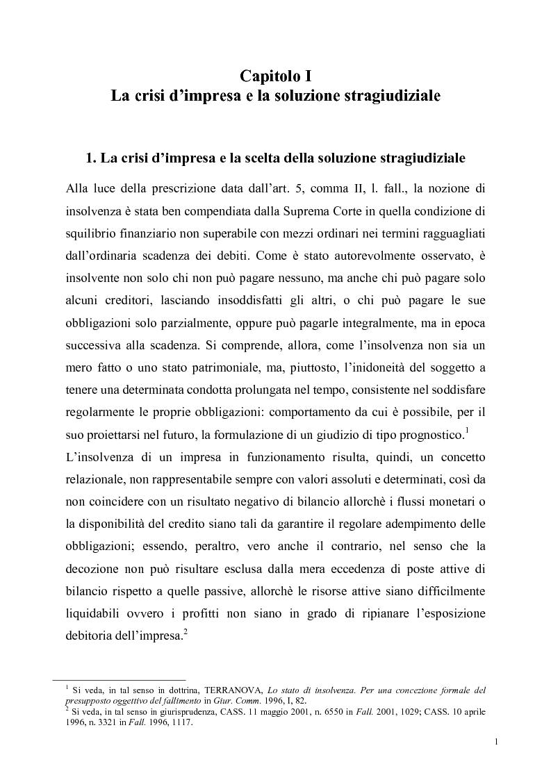Anteprima della tesi: La soluzione stragiudiziale della crisi d'impresa, Pagina 1