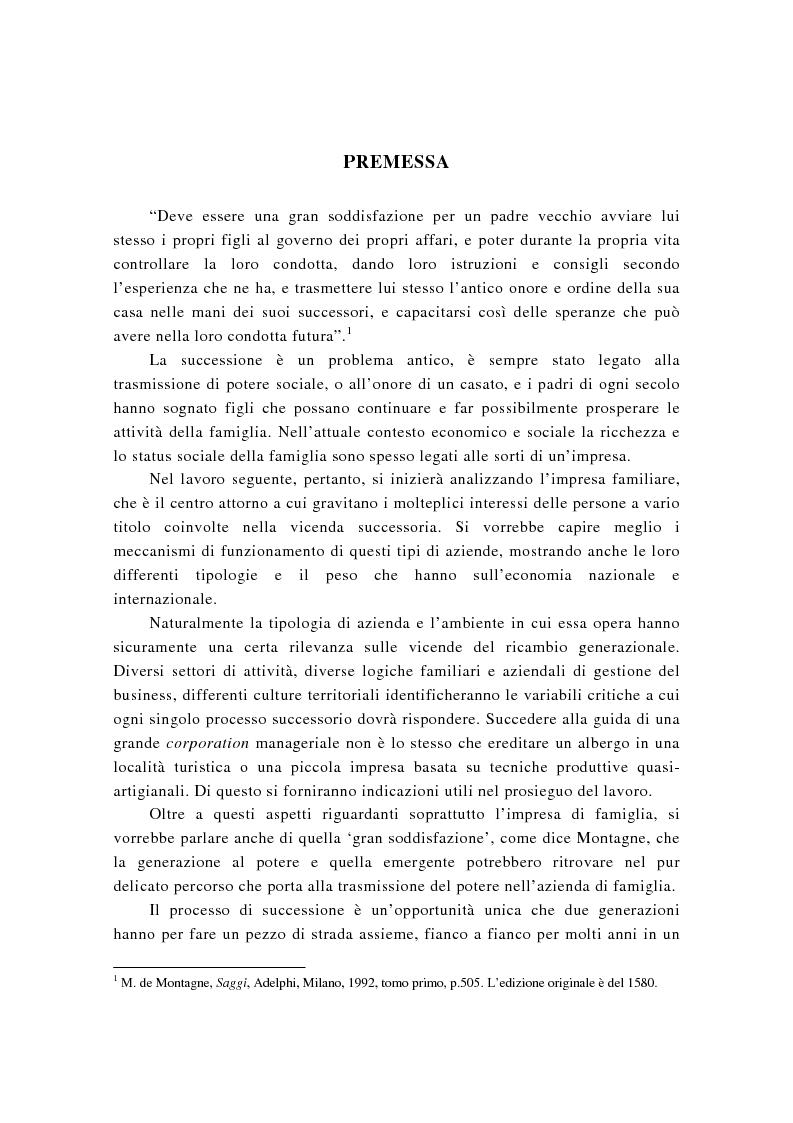 Anteprima della tesi: La successione imprenditoriale e lo sviluppo di conoscenza nell'impresa familiare, Pagina 1