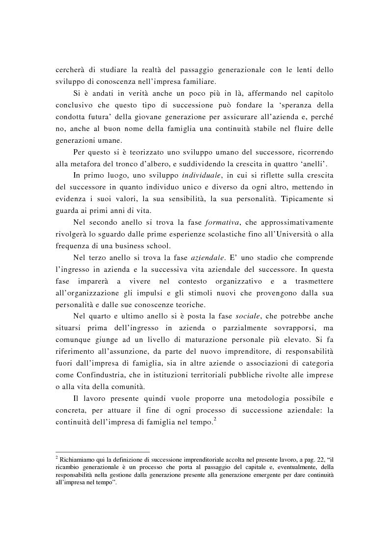 Anteprima della tesi: La successione imprenditoriale e lo sviluppo di conoscenza nell'impresa familiare, Pagina 3