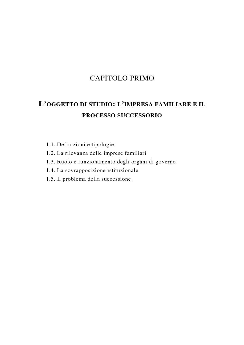 Anteprima della tesi: La successione imprenditoriale e lo sviluppo di conoscenza nell'impresa familiare, Pagina 5