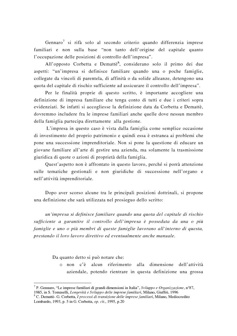 Anteprima della tesi: La successione imprenditoriale e lo sviluppo di conoscenza nell'impresa familiare, Pagina 9