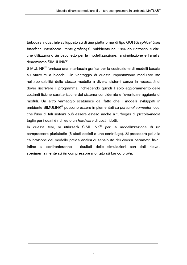 Anteprima della tesi: Modello dinamico modulare di un turbocompressore in ambiente Matlab, Pagina 3