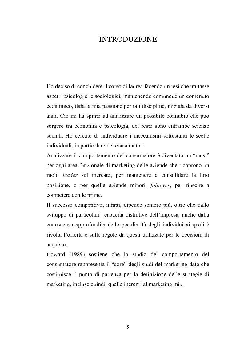 Anteprima della tesi: I complessi processi decisionali e i riflessi sul comportamento del consumatore nel contesto di marketing, Pagina 1