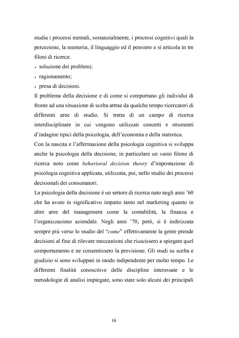 Anteprima della tesi: I complessi processi decisionali e i riflessi sul comportamento del consumatore nel contesto di marketing, Pagina 12