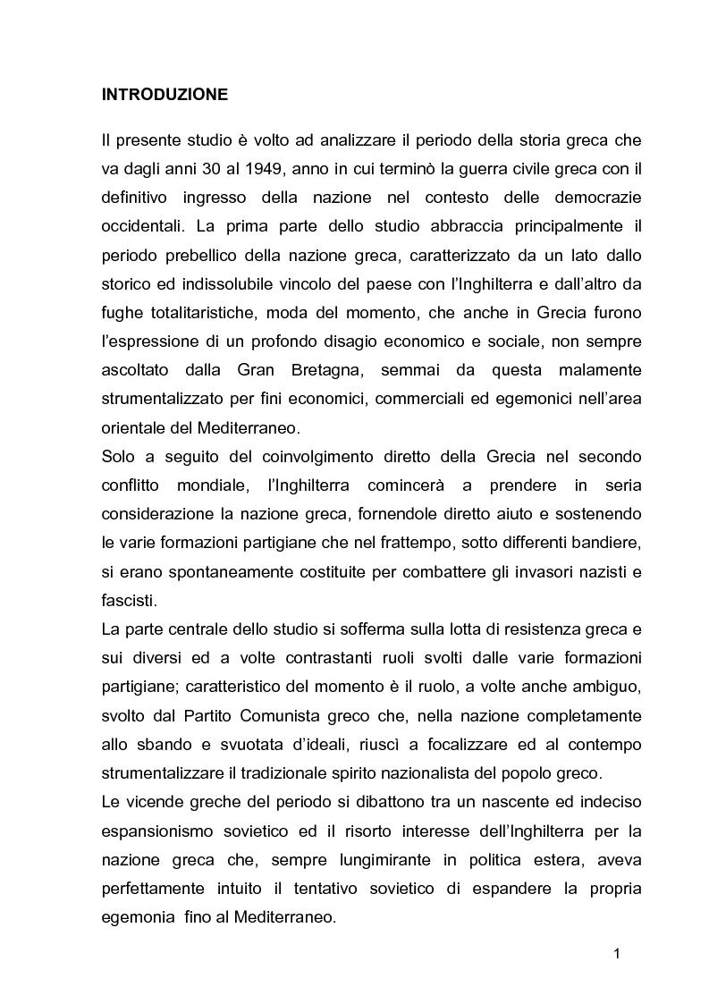 Anteprima della tesi: La guerra civile in Grecia, il declino della potenza britannica e l'affermarsi dell'egemonia americana sull'Europa Occidentale, Pagina 1