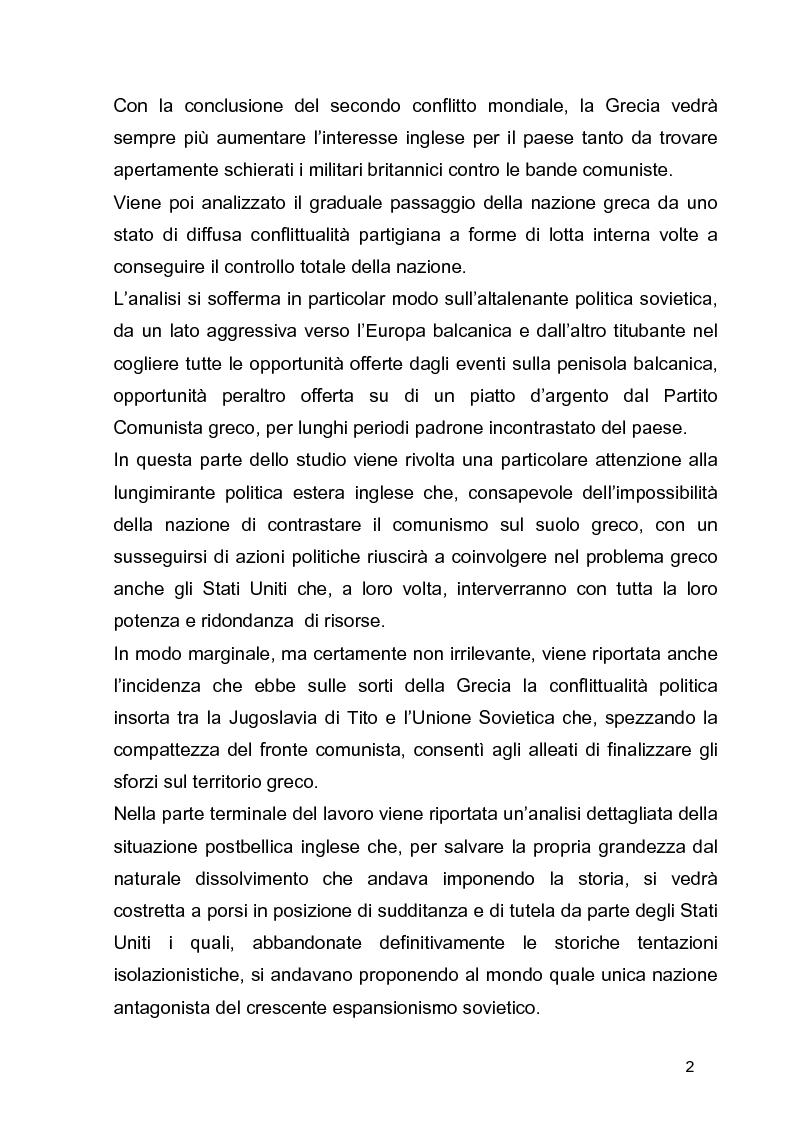 Anteprima della tesi: La guerra civile in Grecia, il declino della potenza britannica e l'affermarsi dell'egemonia americana sull'Europa Occidentale, Pagina 2