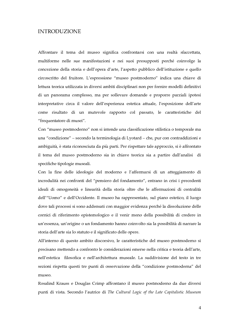Anteprima della tesi: Il museo postmoderno tra filosofia e pratica culturale, Pagina 1